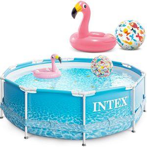 INTEX Metal Frame Swimming Pool 305x76 cm Schwimmbecken Schwimmbad 28206 mit Extra-Zubehör wie: Schwimmring und Strandball