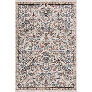 Teppich Wohnzimmer - Beige Multi - Vintage Klassisch Ornamente -  mit Fransen, Teppich Größen:160 x 230 cm