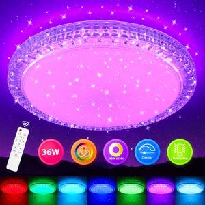 LED Deckenleuchte 36W Kristall Deckenlampe RGB Farbwechsel Dimmbar mit Fernbedienung Sternhimmel Wohnzimmer