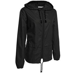 Leichte Regenjacke für Damen Outdoor Packable Waterproof Hooded Raincoat Größe:L,Farbe:Schwarz