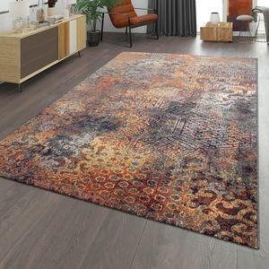 Wohnzimmer Teppich Ethno Design Und Vintage Look Kurzflor Mit Abstraktem, Mehrfarbig, Größe:120x170 cm