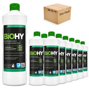BiOHY Bodenreiniger für Wischroboter (12x1l Flasche) | Konzentrat für alle Wisch & Saugroboter mit Nass-Funktion | nachhaltig & ökologisch
