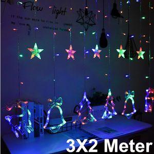 Miixia LED Lichternetz Lichtervorhang Innen Außen Garten Weihnachten Lichterkette Deko 3x2 Meter Bunt