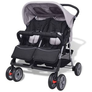 vidaXL Baby Zwillingswagen Stahl Grau und Schwarz