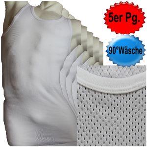 5 Stück Herren NETZ Unterhemd, Gr. 7,  weiss, kochfest, 100% Baumwolle, Träger Hemd, Achselhemd, Bellarib