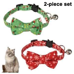 2 Packungen Haustier Weihnachtsfliege Kleine Hundehalsbänder Verstellbares Katzenhalsband Personalisiertes Welpenhalsband Haustier Festliches Weihnachts-Weihnachtshalsband