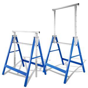 VINGO 2x Geruestbock Arbeitsbock metall bis 250 kg/Paar Klappbock Geruest Unterstellbock Stuetzbock hoehenverstellbar von 80-130cm, mit Abrutschsicherung