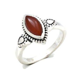 Karneol Ring 925 Silber Sterlingsilber Damenring orange rot (MRI 134-16),  Ringgröße:60 mm / Ø 19.1 mm
