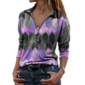 Frauen Spaß T-Shirt Gedruckt Kontrastfarbe Langarm Top,Farbe: Lila,Größe:3XL