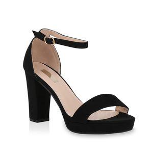 Mytrendshoe Damen Riemchensandaletten Plateau Sandaletten Party Schuhe Elegant 824638, Farbe: Schwarz, Größe: 37