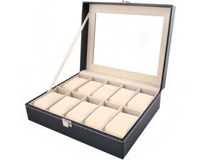 Uhrenbox Uhrenkoffer mit abnehmbaren Organizer Leder Schmuck Uhrenschatulle für bis zu 10 Uhren Uhrenkasten  Uhrenkissen aus Kunstleder 1369