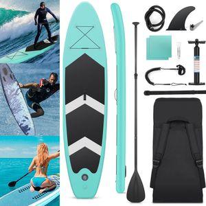 320 x 76 x 15cm bis 150kg, 330lbs SUP Board Set Stand up Paddling Board Surfbretter Surfbrett Aufblasbare, Komplettes Zubehör,  Integrierte Kick-Pad, Verstellbares Doppel-Paddel