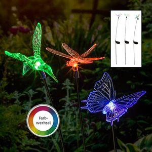 LED 1x Schmetterling Solar 1x Libelle Vogel Gartenstecker Solarlampe Gartenleuchte