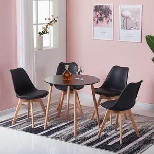 HJ WeDoo Esstisch mit 4 Esszimmerstühle schwarz,skandinavischen Essgruppe 80x80x70cm für Esszimmer Essgruppe