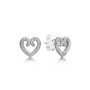 Pandora 297099CZ Ohrringe Heart Swirls Silber