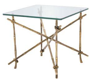Casa Padrino Luxus Beistelltisch Vintage Messingfarben 55 x 55 x H. 49,5 cm - Messing Tisch mit Glasplatte - Luxus Möbel