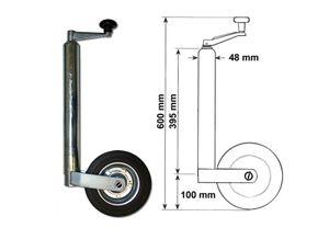 362kg - DM 48mm Vollgummi Anhänger Stützrad Anhängerrad Bugrad mit Stahlfelge