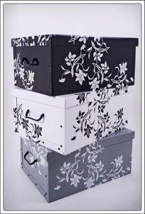 Storage Box 51x37x24 - 3er Set - grau, weiß, schwarz