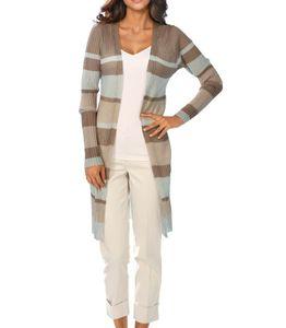 Ashley Brooke Damen Designer-Longstrickjacke, sand-mint, Größe:52
