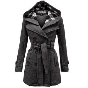 Womens Warm Winter Hooded Long Sections Mantel Gürtel Zweireiher Jacke Größe:XL,Farbe:Grau