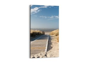 "Leinwandbild - 65x120 cm - ""Hinter der Düne, im Rascheln des Grases""- Wandbilder - Meer Strand Düne - Arttor - PA65x120-2657"