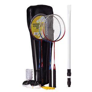 Best Sporting Badminton-Spiel Garnitur - Netz, 4 Schläger blau-silber und rot-silber, 3 Badmintonbälle, Tasche