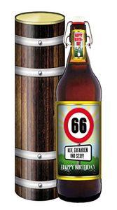 66 Jahre - 1 Liter Flasche mit edlem Pils (mit Geschenkdose im Holzdesign)