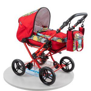 Zekiwa Kombikinderwagen Zeki Elegance, Hochmodischer Kombipuppenwagen, Tragetasche mit Fußsackfunktion, inklusive Anhängetasche, Dessin: Flower Red