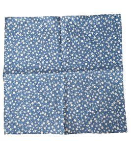 J.PLOENES Baumwoll-Tuch blumiges Herren Einsteck-Tuch Blau/Weiß