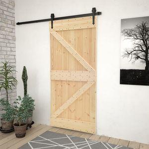 Schiebetür Tür Zimmertür   Haustür mit Beschlag 90x210 cm Kiefer Massivholz - 73922