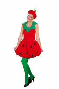 Damen Kostüm Erdbeere Kleid Kragen Karneval Fasching Gr.42/44