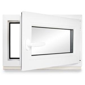 Neruli Kellerfenster Kunststoff Weiß Dreh-Kipp Glasdichtungen Schwarz, 2-fach verglast, DIN Rechts, 90x40 cm