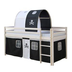Homestyle4u 1558, Kinderbett 90x200, Hochbett Kinder Weiß, Holz Kiefer, Vorhang Pirat