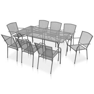Gartenmöbel Essgruppe 8 Personen ,9-TLG. Terrassenmöbel Balkonset Sitzgruppe: Tisch mit 8 Stühle Stahl Anthrazit❀1298