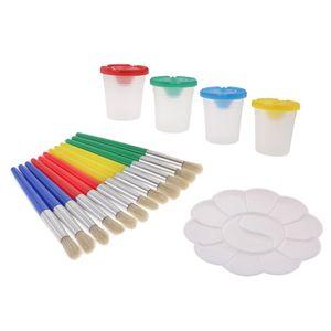17pc Spritzwassergeschützte Farbbecher Und Pinsel Mit Palette Diy Kindermalerei