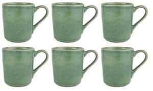 6x Becher, Tasse GREEN DUNES H. 10,5cm grün aus Steingut Ib Laursen