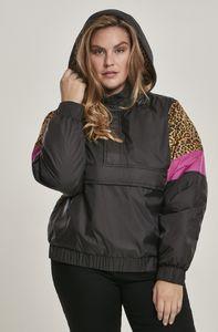 Urban Classics TB3063  Ladies AOP Mixed Pull Over Jacket, Größe:S, Farbe:black/leo