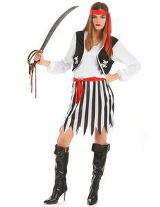 Piratin Kostüm Totenkopf schwarz-weiss