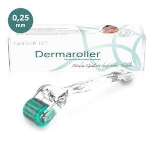 FACES OF FEY Dermaroller - professionelles Microneedling für Zuhause - 192 ECHTE NADELN - Nadelroller 0,25 mm für das Gesicht