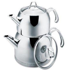 Korkmaz Prrovita Teekannenset 2,2 Liter Teekocher aus Edelstahl Wasserkessel Teekanne Rostfrei Teesieb Teebereiter Silbe