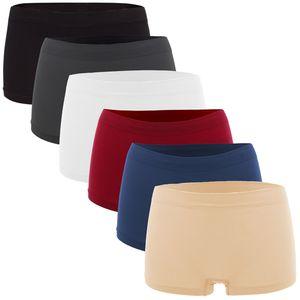 6er Pack Seamless Damen Panties Hipsters Boxershorts Perfekter Sitz, Größe:40/42, Farbe:Multifarb Set