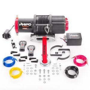 Rhino 2040kg/4500lb Elektrische Seilwinde mit Fernbedienung und Mobilteil, Kunststoffseil/Synthetikseil 12V | für ATV, Quad & Bootsanhänger