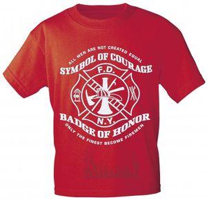 T-Shirt mit Vorder- und Rückenprint - Feuerwehr Symbol - 09856 rot - Gr. S-XXL Größe - S