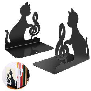 Buchstützen-Set Katzen , 2er-Set Buchständer aus Metall , Zwei schwarze Metall-Buchstützen im Set mit wunderschön ausgestanzten Katzen-Motiven