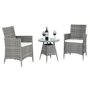 3-teilige Gartenmöbel Sitzgruppe Gartenset Lounge Polyrattan Rattan Essgruppe, Farbe:grau/cream