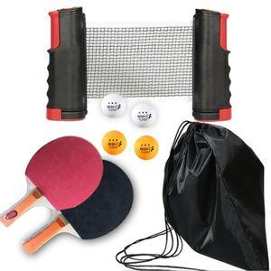 Tragbar 8 tlg Tischtennis-Set Outdoor Flex, 2 wasserfeste Kunststoffschläger, 4 Bälle, inkl. 1 Schwarz Rot ausziehbarer und längenverstellbarer Tischtennisnetz, in Schwarz Netzbeutel