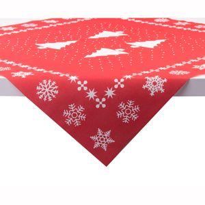 Sovie HOME Tischdecke White Tree in Rot aus Linclass® Airlaid 80 x 80 cm, 1 Stück - Mitteldecke Weihnachten Tannenbaum
