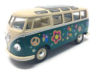 Modellauto VW T1 Samba Bus Flower Power 1962  grün / beige Volkswagen Bulli 1:24