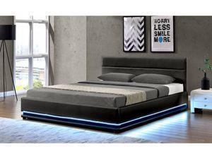 """Bett  LED """"Anastasia""""-160 x 200 cm - Schwarz"""