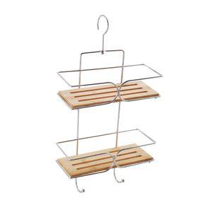 MSV Duschablage zum Hängen – praktisches Duschregal ohne Bohren zu montieren – Duschkörbe zum Hängen aus Metall und Holz für sämtliches Duschzubehör – bambusfarben